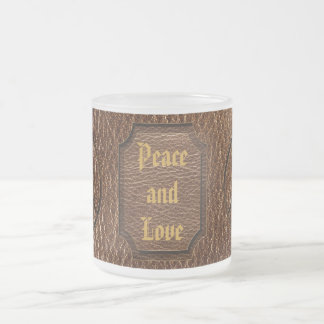 Leather-Look Peace Brown 10 Oz Frosted Glass Coffee Mug