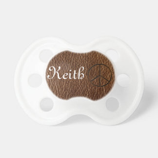 Leather-Look Peace Brown Pacifier