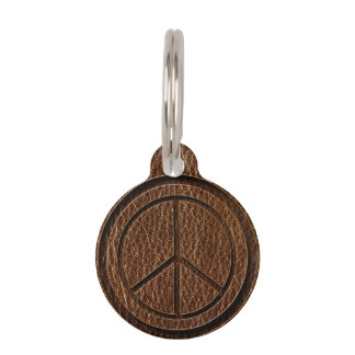 Leather-Look Peace Brown Pet ID Tag