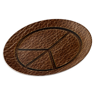 Leather-Look Peace Brown Porcelain Plate