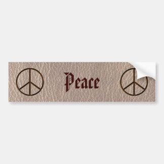 Leather-Look Peace Brown Soft Bumper Sticker