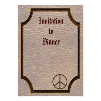 """Leather-Look Peace Brown Soft 5"""" X 7"""" Invitation Card"""