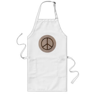 Leather-Look Peace Brown Soft Long Apron
