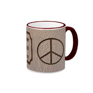 Leather-Look Peace Brown Soft Ringer Coffee Mug