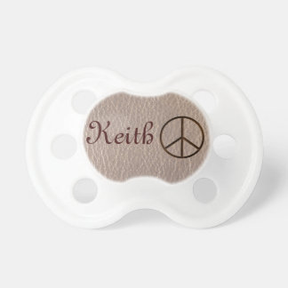 Leather-Look Peace Brown Soft Pacifier