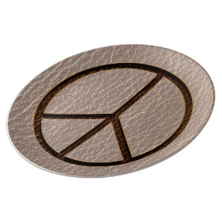 Leather-Look Peace Brown Soft Porcelain Plate