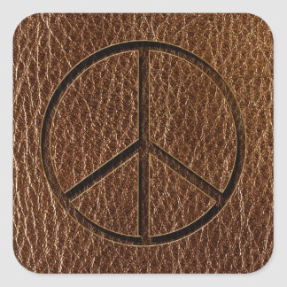 Leather-Look Peace Brown Square Sticker