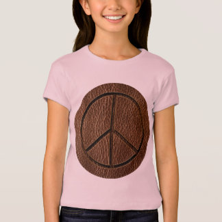 Leather-Look Peace Brown T-Shirt