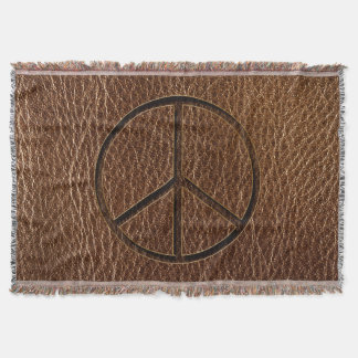 Leather-Look Peace Brown Throw