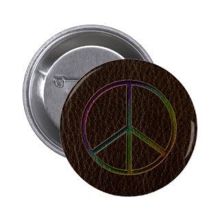 Leather-Look Peace Colour Dark Pinback Button