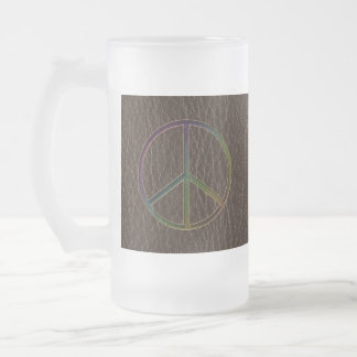 Leather-Look Peace Colour Dark Frosted Glass Beer Mug