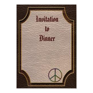 "Leather-Look Peace Colour Dark 5"" X 7"" Invitation Card"