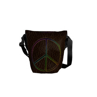 Leather-Look Peace Colour Dark Courier Bags