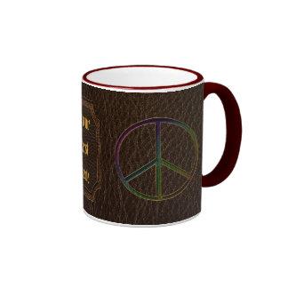 Leather-Look Peace Colour Dark Ringer Coffee Mug