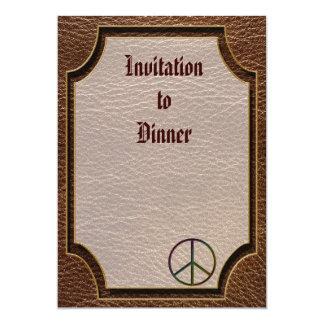 """Leather-Look Peace Colour 5"""" X 7"""" Invitation Card"""