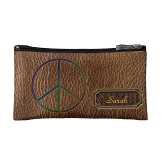 Leather-Look Peace Colour Makeup Bag