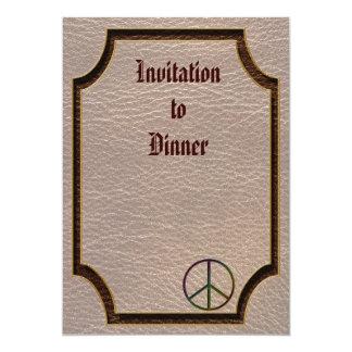 "Leather-Look Peace Colour Soft 5"" X 7"" Invitation Card"