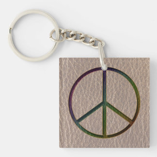 Leather-Look Peace Colour Soft Keychain