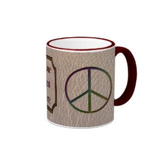 Leather-Look Peace Colour Soft Ringer Coffee Mug