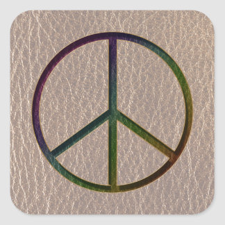 Leather-Look Peace Colour Soft Square Sticker
