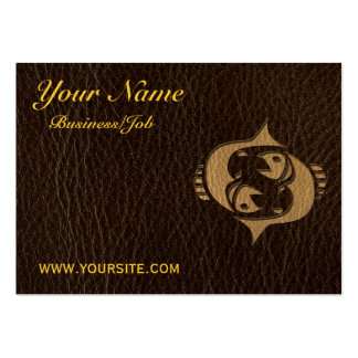 Leather-Look Pisces Business Card Template