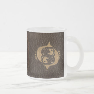 Leather-Look Pisces Frosted Glass Coffee Mug
