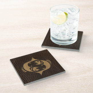 Leather-Look Pisces Glass Coaster