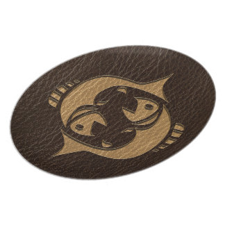 Leather-Look Pisces Plate