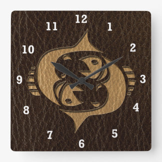 Leather-Look Pisces Square Wall Clock