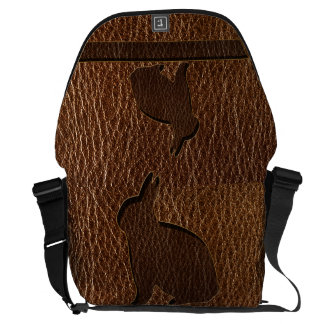 Leather-Look Rabbit Courier Bag