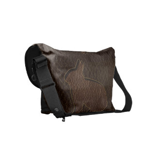Leather-Look Rabbit Dark Small Messenger Bag
