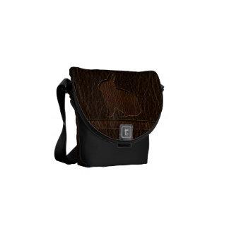 Leather-Look Rabbit Dark Messenger Bag