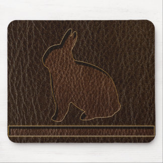 Leather-Look Rabbit Dark Mouse Pad