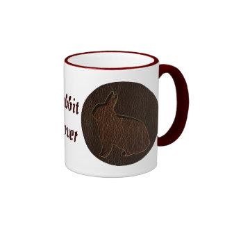 Leather-Look Rabbit Dark Coffee Mug
