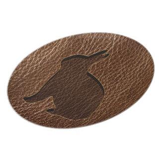 Leather-Look Rabbit Dinner Plate