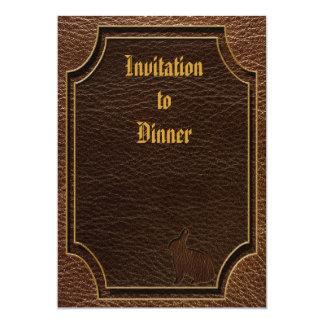 "Leather-Look Rabbit 5"" X 7"" Invitation Card"