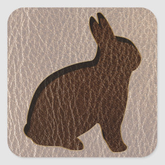 Leather-Look Rabbit Soft Square Sticker