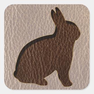 Leather-Look Rabbit Soft Square Sticker
