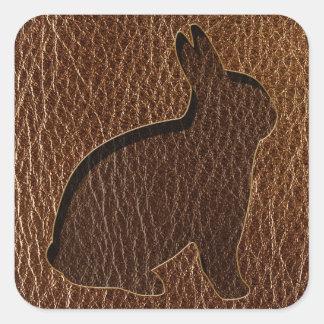 Leather-Look Rabbit Square Sticker