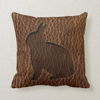 Leather-Look Rabbit Throw Pillow