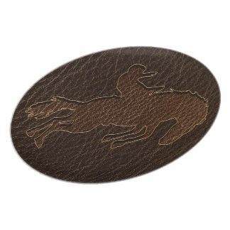 Leather-Look Rodeo Dark Dinner Plate