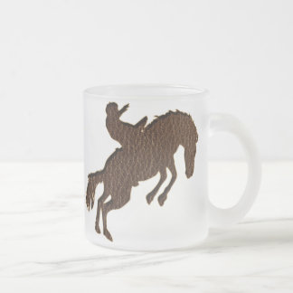 Leather-Look Rodeo Dark Frosted Glass Coffee Mug