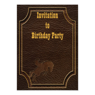 "Leather-Look Rodeo Dark 5"" X 7"" Invitation Card"