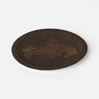 Leather-Look Rodeo Dark Paper Plate