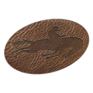 Leather-Look Rodeo Dinner Plate