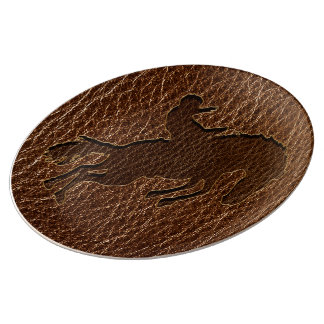 Leather-Look Rodeo Porcelain Plate