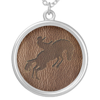 Leather-Look Rodeo Silver Plated Necklace