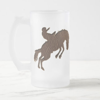Leather-Look Rodeo Soft Frosted Glass Beer Mug
