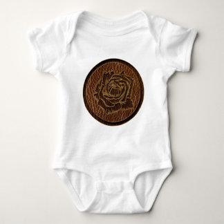 Leather-Look Rose Baby Bodysuit