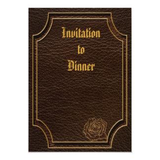 "Leather-Look Rose Dark 5"" X 7"" Invitation Card"